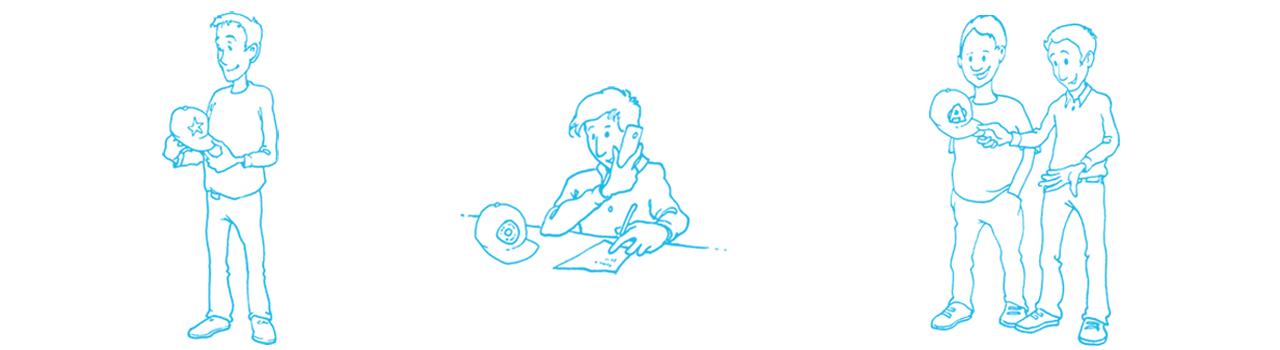 Zeichnung Mitarbeiter am Telefon