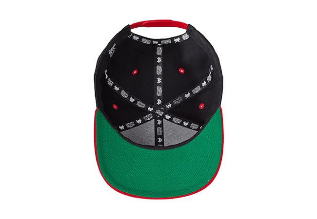 Snapback Cap Schwarz Rot 541 Unterseite